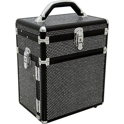 Sunrise Rezzonico Makeup Case Professional Jewelry Travel Organizer Box with 3 Tiers Accordion Trays, Black Krystal, 6 Pound. For product & price info go to:  https://beautyworld.today/products/sunrise-rezzonico-makeup-case-professional-jewelry-travel-organizer-box-with-3-tiers-accordion-trays-black-krystal-6-pound/
