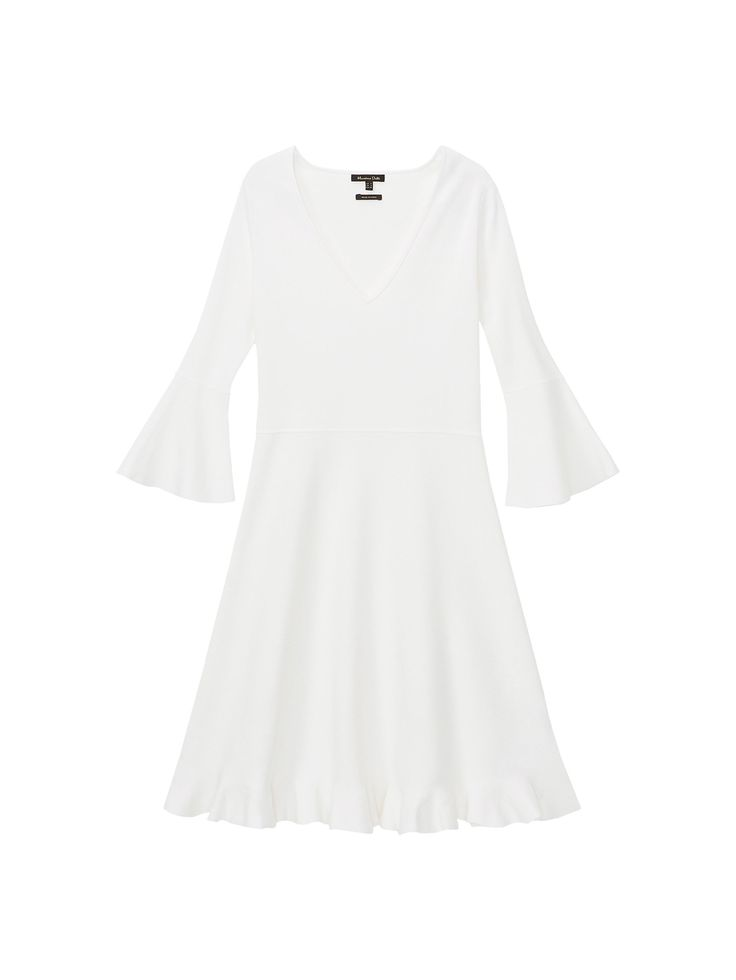 Solid knit dress. A-line cut, V-neck, 3/4 length sleeves with ruffled cuffs and ruffled hem. The garment length for size M is 91 cm.