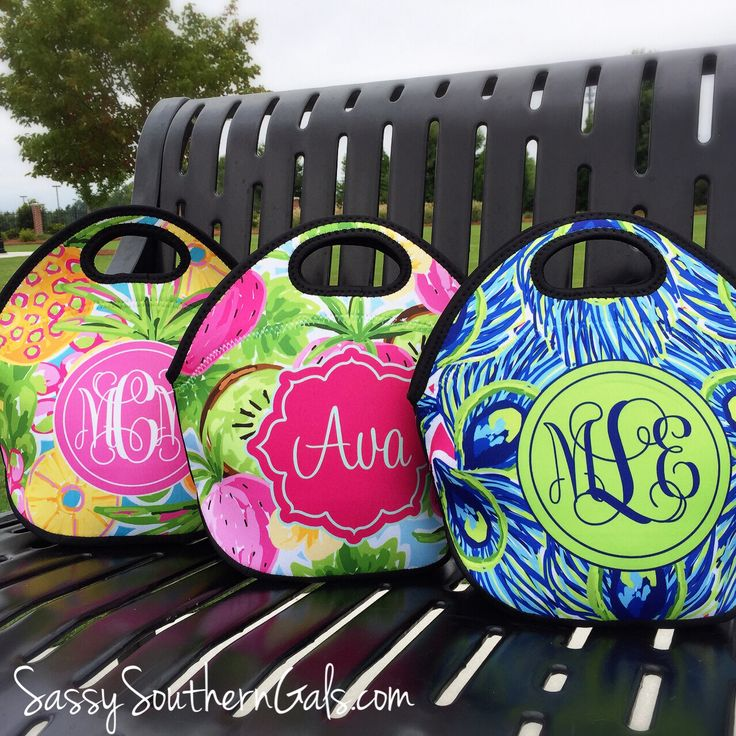 Lilly Pulitzer Inspired Monogrammed lunch tote! Choose from an array of patterns.  Be the envy of your coworkers with this adorable lunch bag! www.SassySouthernGals.com ~Monogrammed Gifts & Accessories~