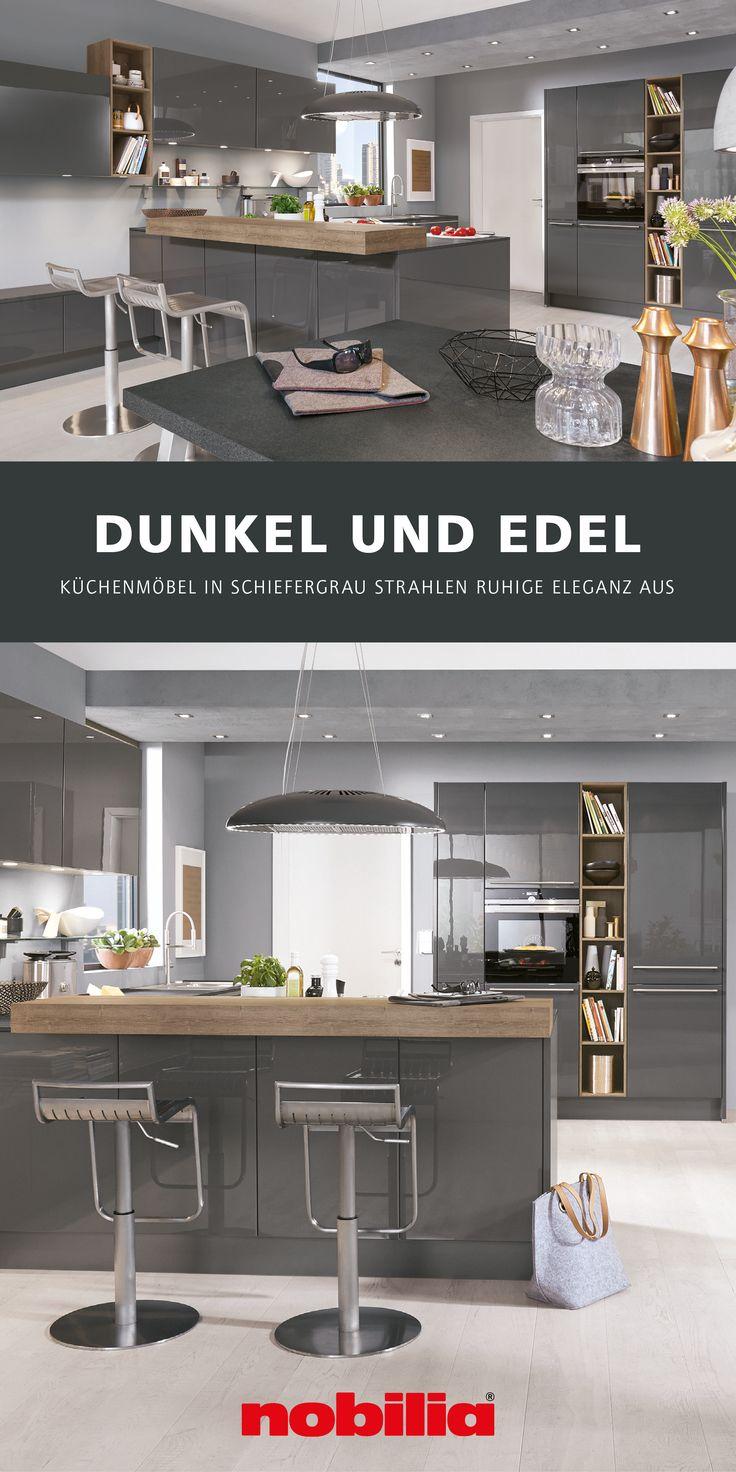 dunkle küche in schiefergrau hochglanz in 2020   dunkle
