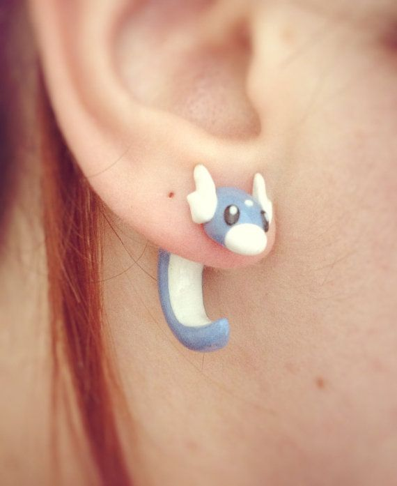 Pokemon Dratini Fake Ear Gauge / Plug Earring by EviesGeekBoutique