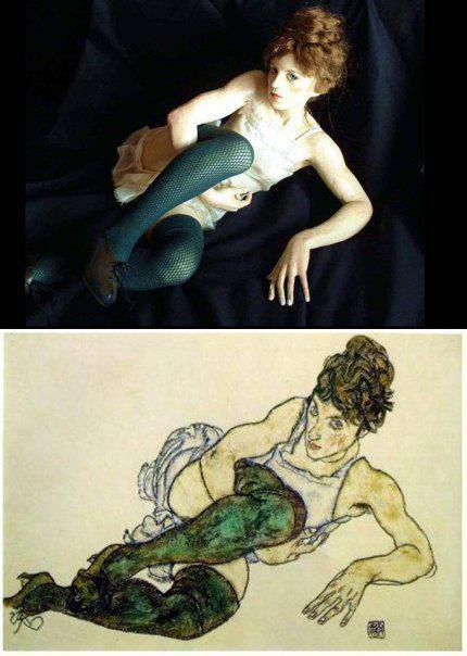 Egon Schiele, Femme au collant vert, 1917