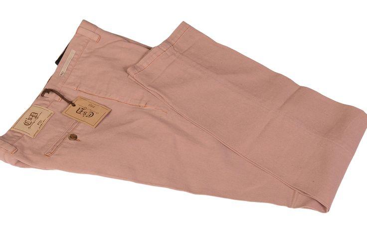 PT01 PANTALONI TORINO Salmon Cotton Denim Stretch Casual Pants NEW