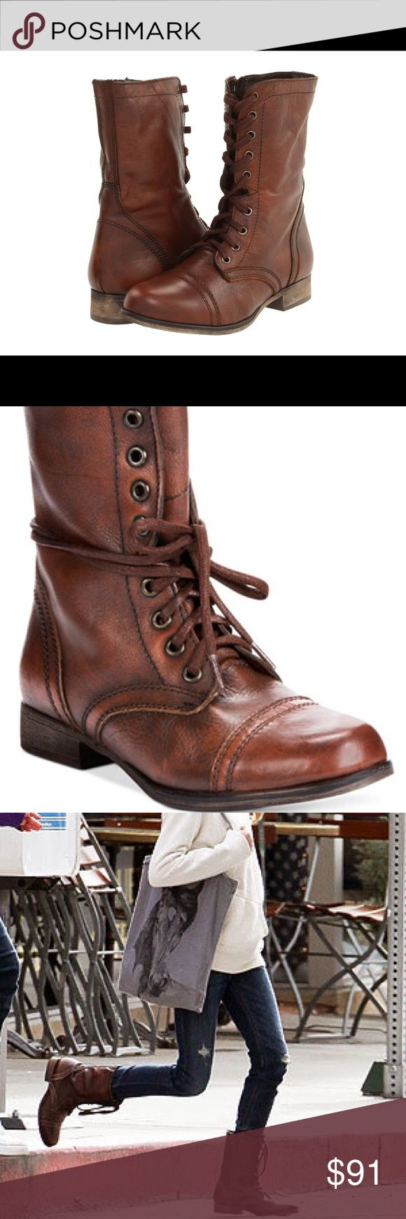 Steve Madden Troopa Brown boots woman 8.5 NIB. Steve Madden Troopa Brwn leather combat boots 8.5. BRAND NEW. Msrp 80-100. I have them in black and they are very comfortable and go with everything from jeans to dresses. Not a lot of wiggle room on price but ask ? Steve Madden Shoes Combat & Moto Boots