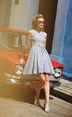 chambray frock from Plenty by Tracy Reese, with eyelet-style embroidery and a full A-line skirt.