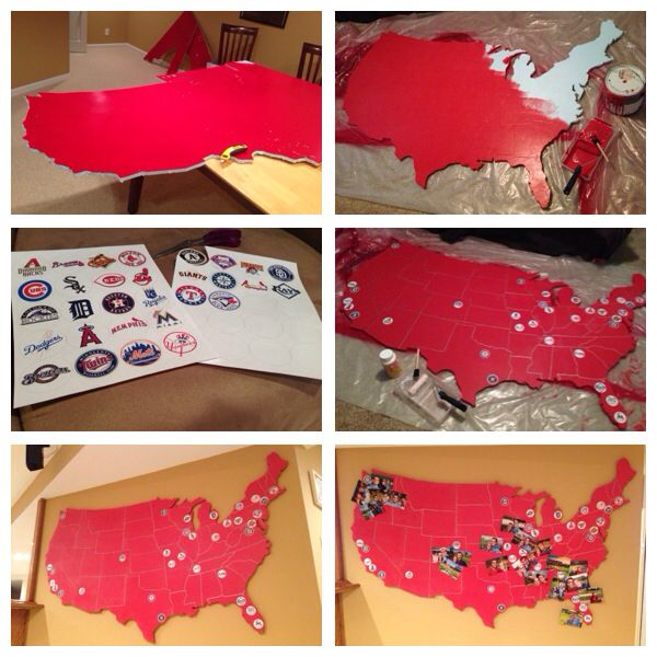 MLB team stadium map made from polystyrene insulated sheet. Pinning pictures of all the stadiums we have visited. Already hit 7 major league stadiums and all the Cardinals stadiums :)