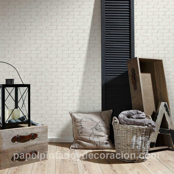 Papel pintado imitación ladrillo grisaceo textura rugosa PDA8327262