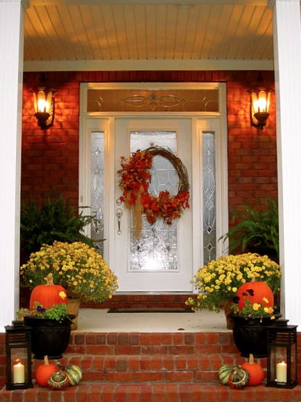 fall autumn halloween front porch decor - Halloween Front Doors