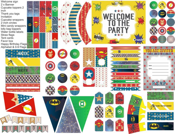 Superhero party printables, superhero party decorations, everything you need for your superhero party