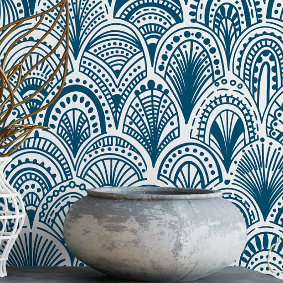 Blue bohemian scallops removable wallpaper / cute self