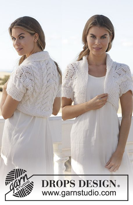 Knitted DROPS bolero with cables and lace pattern in Brushed Alpaca Silk and Alpaca. Size S-XXXL Free pattern by DROPS Design.