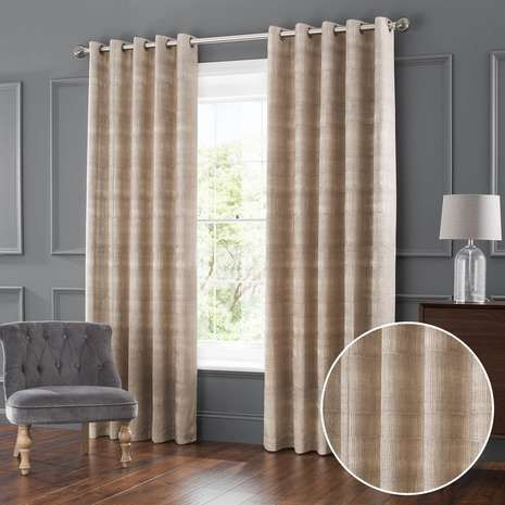 Ekon Natural Jacquard Eyelet Curtains   Dunelm