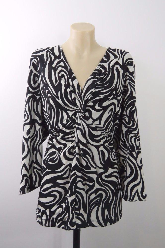 Plus Size 2XL 18 Ladies Black Top Tunic Mock Wrap Office Business Cocktail Style #MySize #Blouse #Career