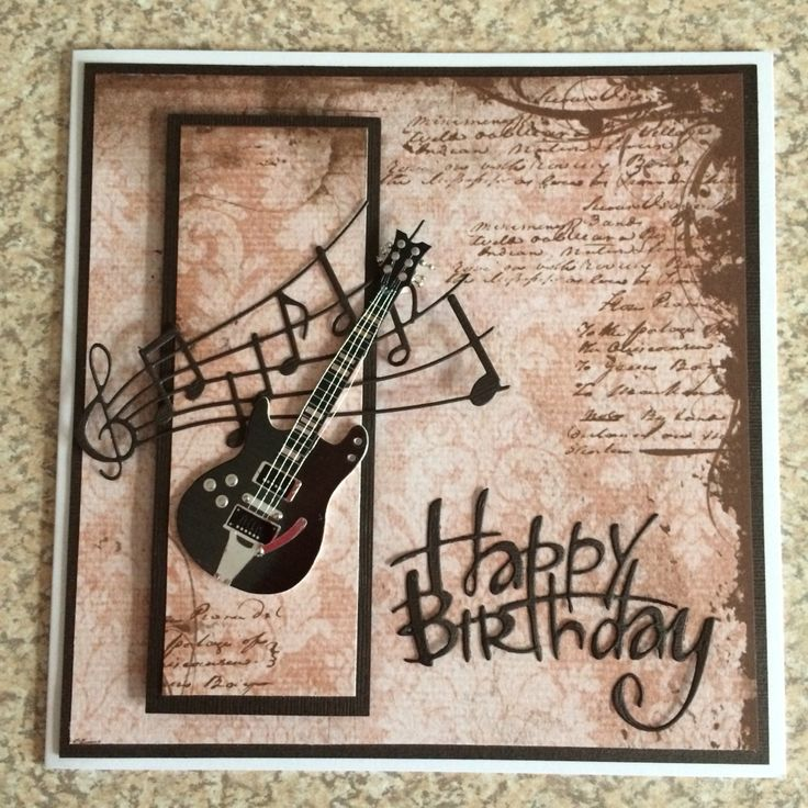 Happy Birthday guitar greetings card Musical cards