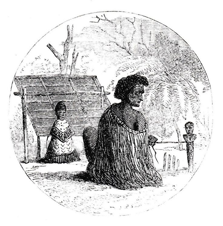 A Tohunga seated at his tuahu, or shrine. He is communicating with a spirit thought to be temporarily present in the figure before him.