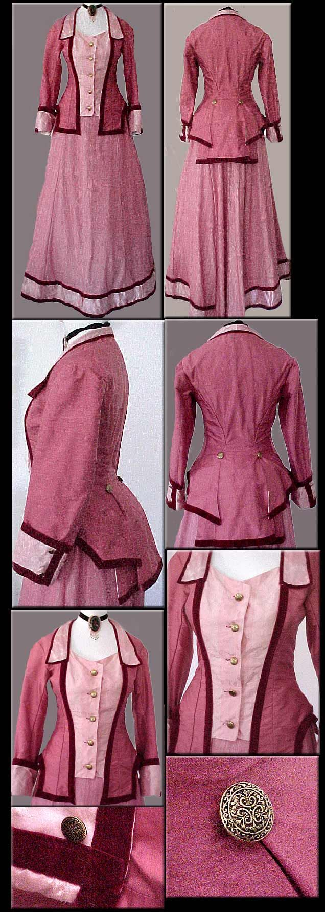 1870s Rose Silk and Velvet Walking Dress via Bustledress.com/.