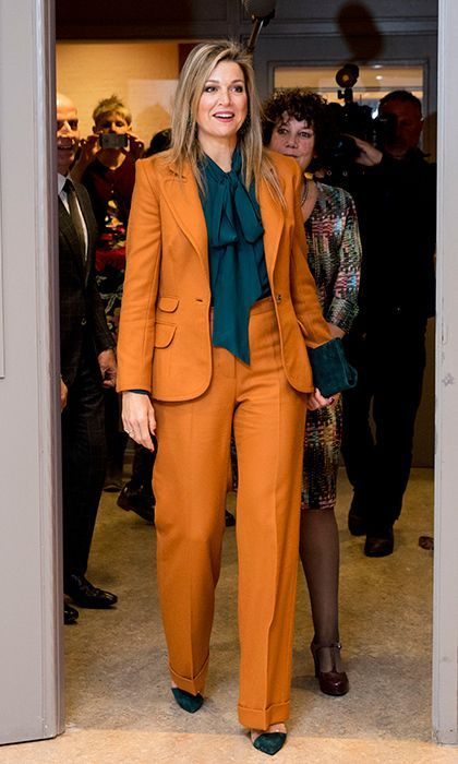 Queen Maxima wore a striking mustard suit for the celebration of the 90th anniversary of The Sparrows in the Hague, Netherlands, on November 17, 2016.