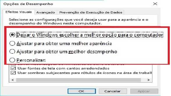 WINDOWS 10 ― DESEMPENHO ― EFEITOS VISUAIS