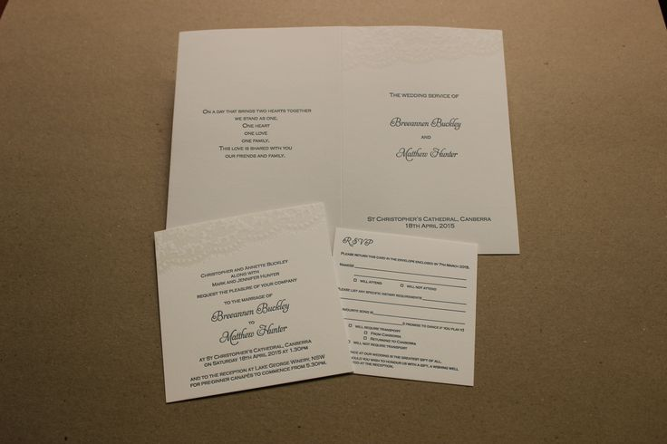 Invitation, RSVP and order of service cover.