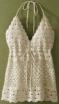 Crochet top pattern. It's just sooo pretty! Bet it would go great with a bolero.  ♪ ♪ ... #inspiration_crochet #diy GB