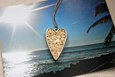 DIY sand jewelry. Sand + Mod Podge + bezel=awesome necklace