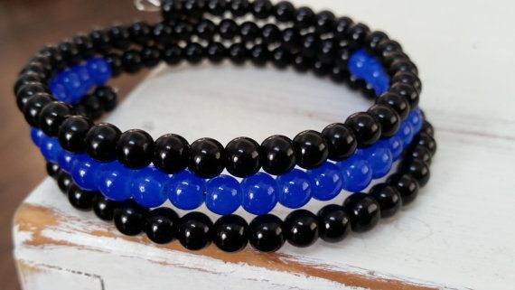 Thin Blue Line Small Beaded Bracelet - $8.00   Show your support for Law Enforcement!