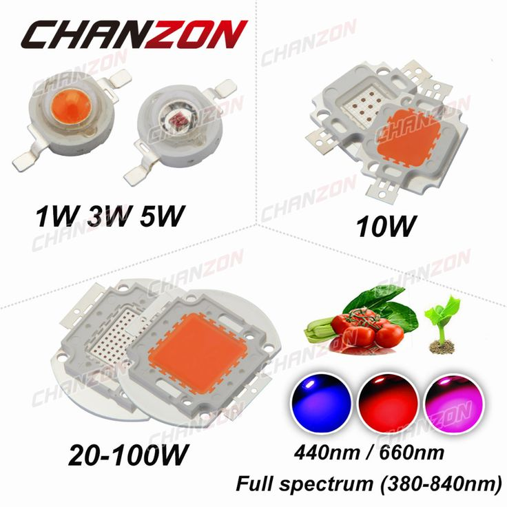 Chanzon chip de alta potencia led full spectrum led crece la luz 1 w 3 w 5 w 10 W 20 W 30 W 50 W 100 W 380nm-840nm Cuentas COB para el Crecimiento Vegetal