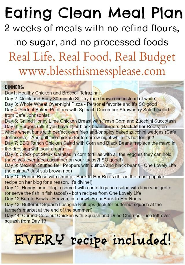 Eating clean meal plan and recipes