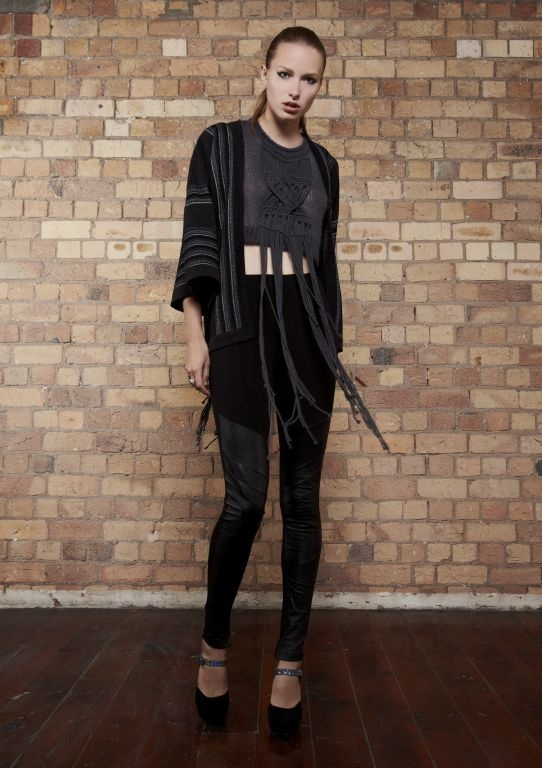 kyleedavis.com We Are The Night Batwing Jacket over the Weapon Of Choice Crop Vest with hand-made cotton macrame breast plate