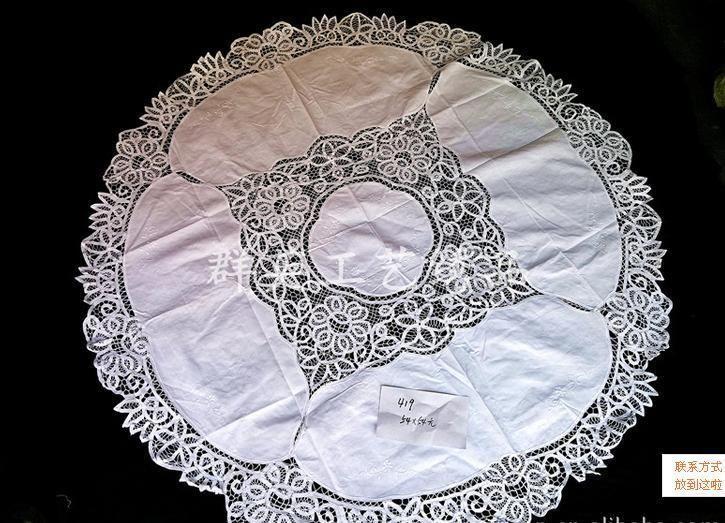 """round beige colour Vintage Battenburg Lace Tablecloth~54"""" item no 1392"""