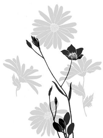 Greyscale Print of Flowers