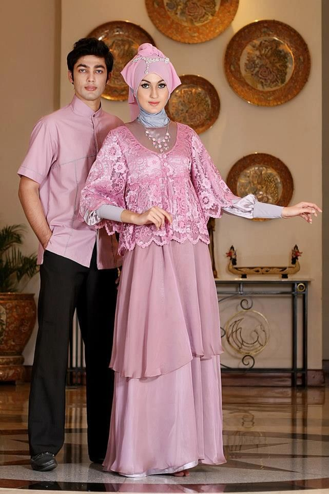 Long Dress baju muslim pesta Dusty Pink Couple