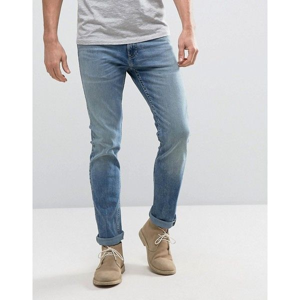 Hollister Skinny Jeans Mid Wash with Knee Slits Distress ($57) ❤ liked on Polyvore featuring men's fashion, men's clothing, men's jeans, blue, mens destroyed jeans, mens blue skinny jeans, mens super skinny ripped jeans, mens ripped jeans and mens skinny fit jeans