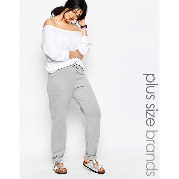 Pink Clove Lounge Joggers (545 ZAR) ❤ liked on Polyvore featuring activewear, activewear pants, grey, plus size, plus size sportswear, plus size activewear, womens plus size activewear, pink clove and tall activewear