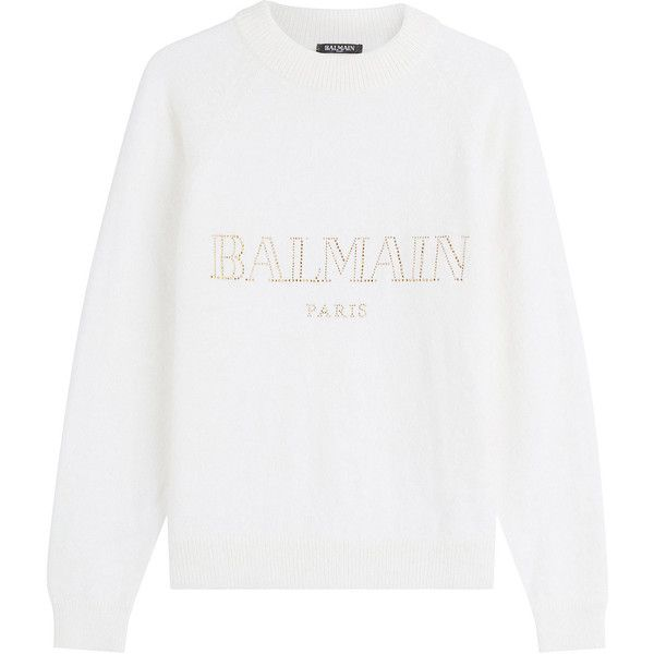 Balmain Embellished Angora Pullover found on Polyvore featuring tops, sweaters, white, wet look top, angora sweater, embellished tops, pullover sweaters and white top