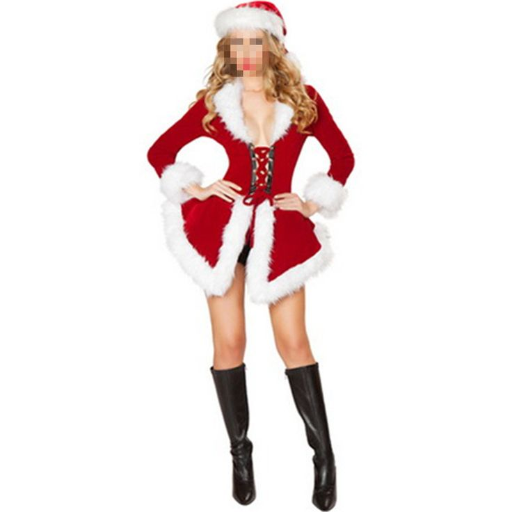 Sexy Velvet Santa costume Women's Sexy Christmas Fancy Dress Lingerie Party Red Cosplay Costume