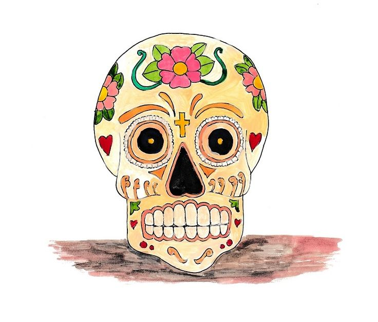 A4 illustration of a skull, titled Calavera II, inspired by the Mexican Día de los Muertos (Day of the Dead) celebrations. The skull is decorated with flowers, hearts and a crucifix, using oil paints and fine liner pen. #illustration #drawing #art #artwork #skull