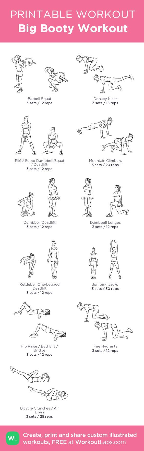 Big Booty Workout: my custom printable workout by @WorkoutLabs #workoutlabs #customworkout: