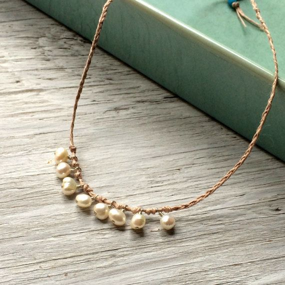Bohemian Pearl Necklace  hemp and pearl by allthingsbeaded on Etsy