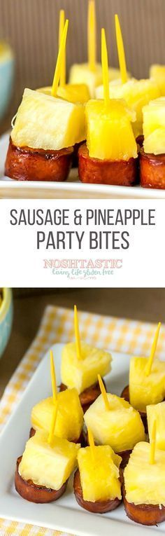 These fun little Sausage and Pineapple Party Bites are easy to make in a hurry and would make a great appetizer for your next party!