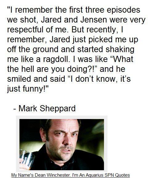 Mark Sheppard recalls his first week working with the boys, particularly Jared Padalecki. #MarkSheppard #JaredPadalecki