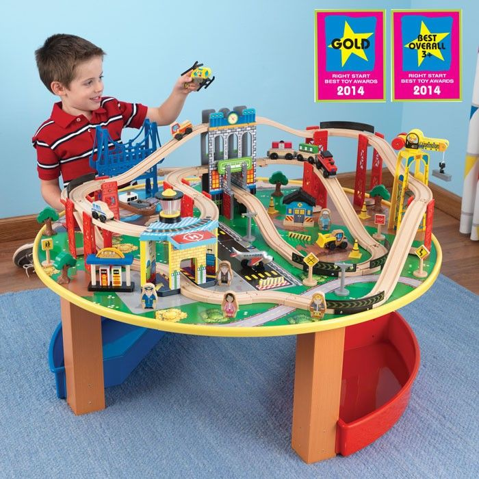 KidKraft City Exploreru0027s Train Set and Table 17985 wooden toy train set | Borntotoddle.  sc 1 st  Pinterest : best train table set - pezcame.com