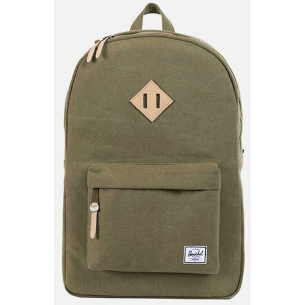 Herschel Supply Co. Herschel Heritage Heavy Canvas Backpack - Washed... (€87) ❤ liked on Polyvore featuring bags, backpacks, washed army green, brown backpack, canvas rucksack, canvas bag, army rucksack and olive green canvas backpack