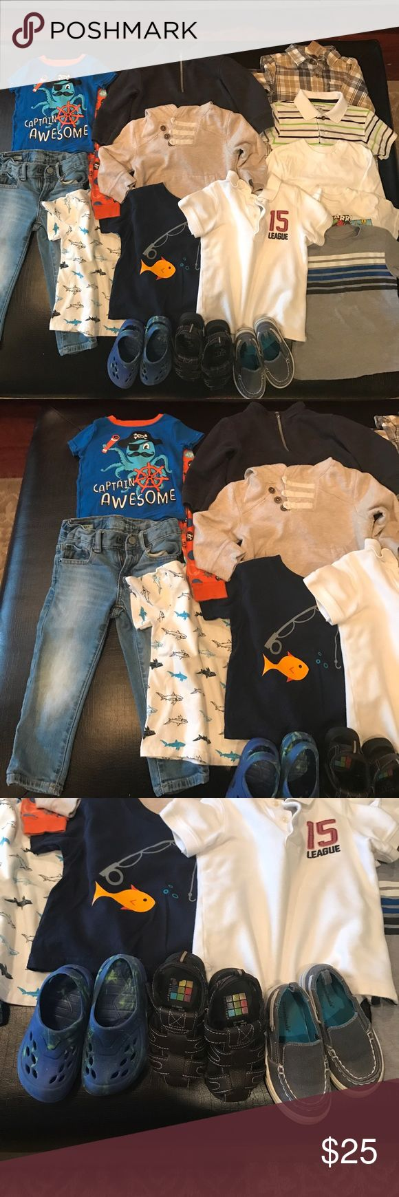 Boys 2T Bundle!!! Awesome boys 2T bundle includes 15 great staple pieces!!: 4 t-shirts 1 long sleeve tee 2 polo-style shirts 1 NWT button down  1 pair pajamas 3 pair shoes size 7/8 2 pullovers 1 pair BabyGAP jeans Other