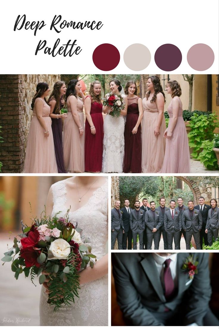 The deep reds and blushing pinks in this color palette are just stunning!