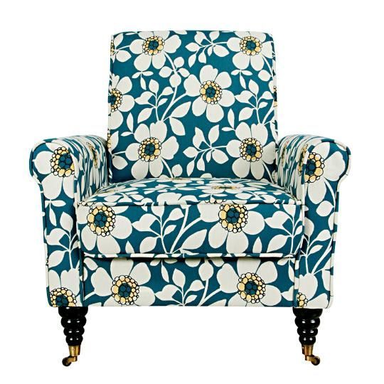 Angelohome dusk blue floral upholstered chair