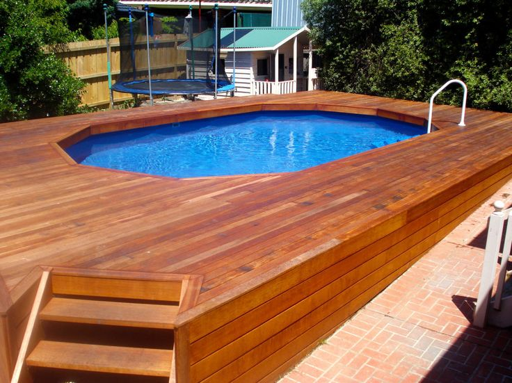 Wonderful Incredible Above Ground Pool Deck Kits Wood With Brown Mahogany Wood Stain  Also Skywalker Round Jump