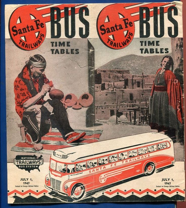 $10.99 1945 Santa Fe FE Trailways bus War Time Service Tables WWII  | Collectibles, Transportation, Buses & Taxi Cabs | eBay!