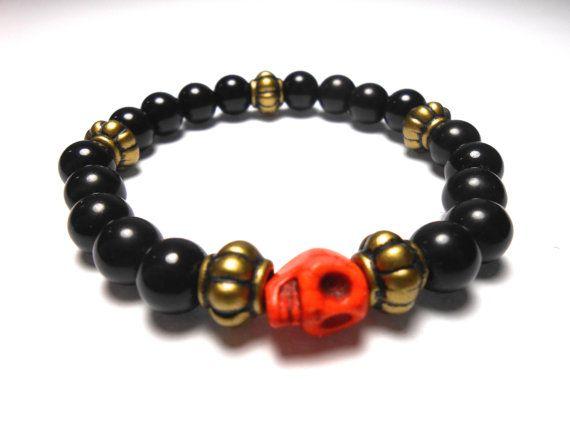 Orange Skull Stretch Plastic Bracelets  Arm Candy  by ShopJosette