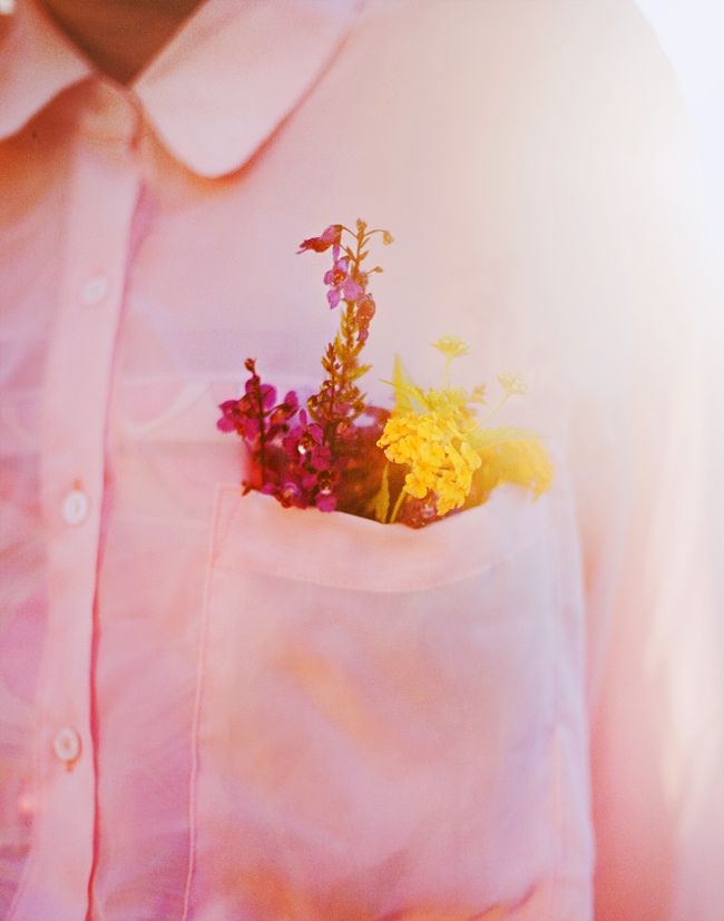 wildflower boutonnière: White Flowers, Pink Flowers, Flowers Fields, Pockets Full, Fields Flowers, Pink Blouses, Flowers Pockets, White Shirts, Men Shirts
